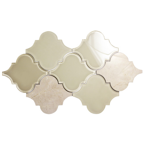 Clover Arabesque Crema Mosaic Glass Tile