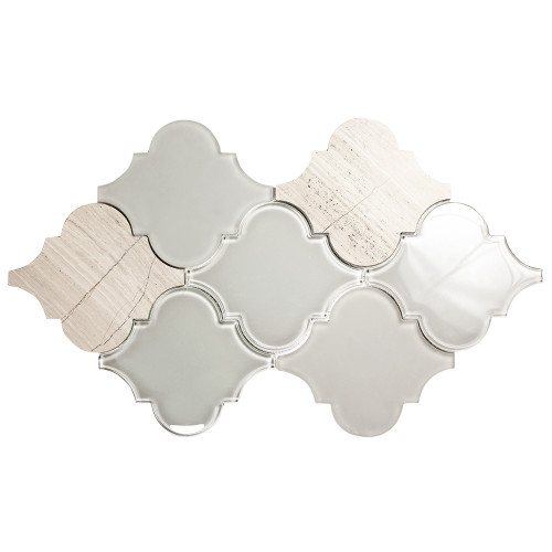 Clover Arabesque Grigio Mosaic Glass Tile