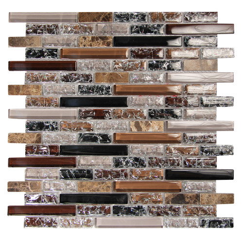 Eros 2 Taupe Mosaic Glass Tile