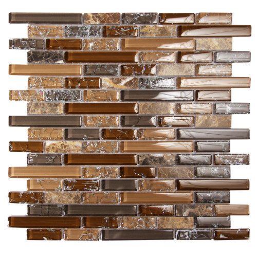 Eros 3 Brown Mosaic Glass Tile
