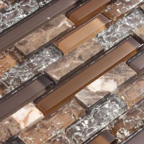 Eros 3 Brown Mosaic Glass Tile Closeup