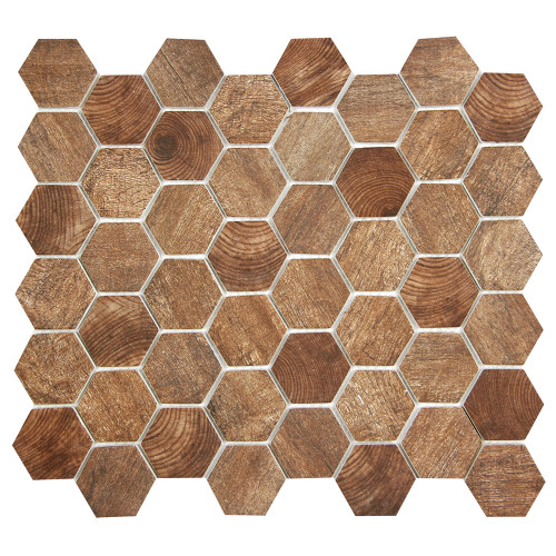 Hexacycle Teak Wood Hexagon Recycled Glass Tile