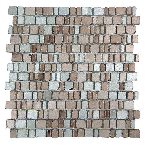 Ice Age Silver Rusitc Glass Tile