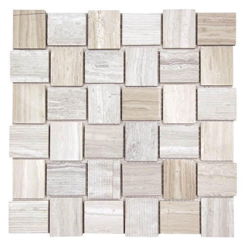 Linker White Wood Mosaic Stone Tile