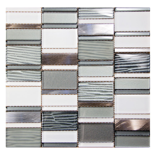Loft Silver Mosaic Glass Tile