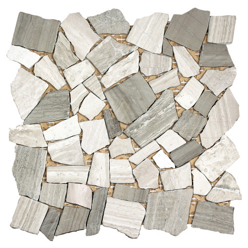 Nuur Wood Grey Mosaic Stone Tile