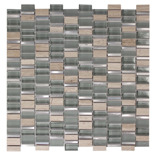 Ole Grigio Mix Glass, Metal & Stone Mosaic Tile