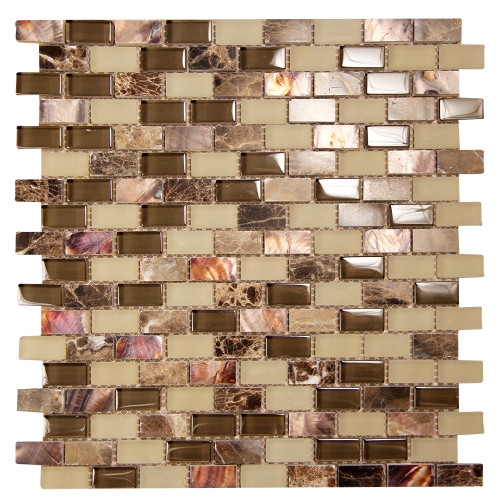 Agata Shell Mix Emperador Mosaic Glass Tile