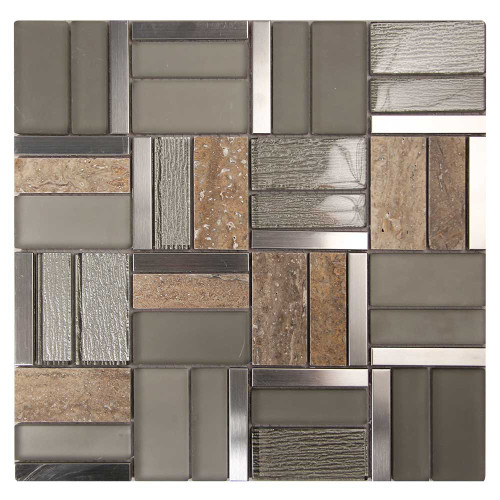 Fringe Tan Glass, Marble, Metal Mosaic Tile