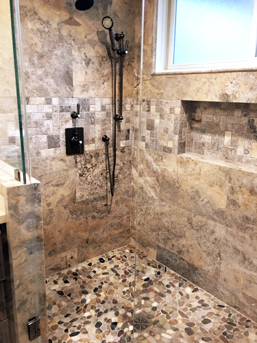 pebble stone mixed slice tile in bathroom