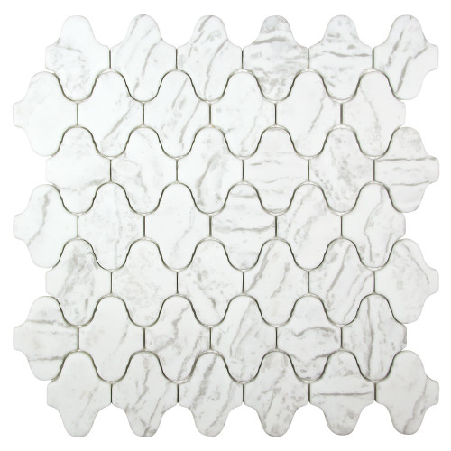 Arabescato Natural Snow White Recycled Glass Tile