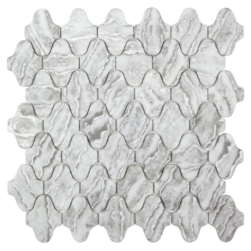 Arabescato Natural Grigio Recycled Glass Tile