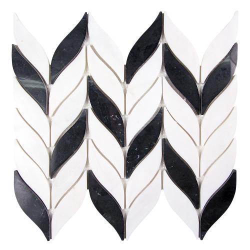 Elegance Black and White Waterjet Marble Mosaic Tile
