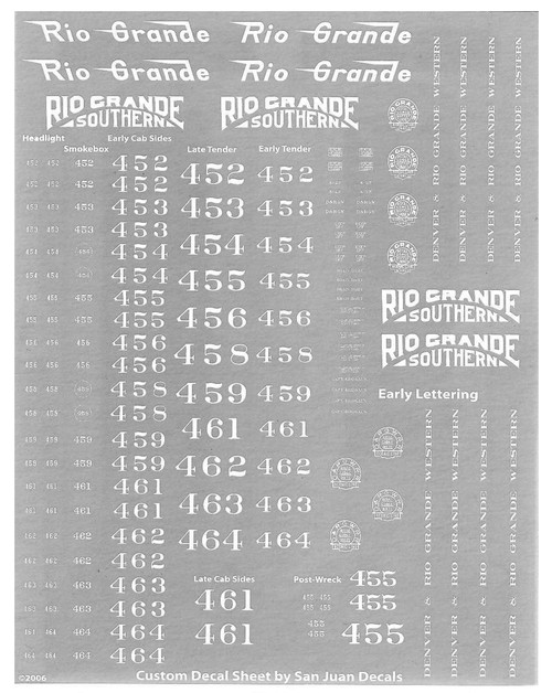 Image of decal sheet for HOn3  K-27 Engine Decal Set