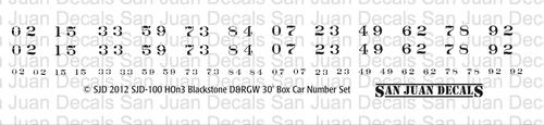 HOn3 Renumbering decal for Blackstone 3000 series box car. Printed in BLACK.