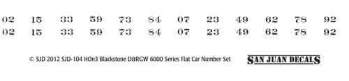 HOn3 D&RGW 6000 Series Flat Car Renum Set for Blackstone (white)