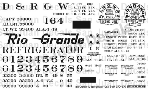 On3 D&RGW #150-169 40' Refrigerator Car