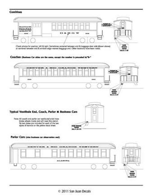 On3 D&RGW Passenger Car 1912-1951 Imitation Gold Leaf