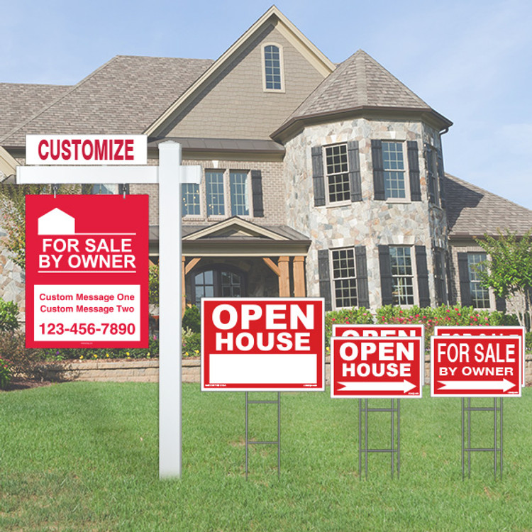 Large Deluxe Real Estate For Sale By Owner FSBO Sign Kit - Red
