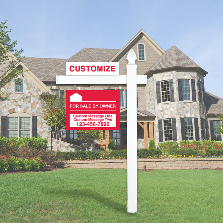 """Red For Sale By Owner FSBO 18T x 24W Hanging Sign Kit - Real Estate Post 5' Tall 36"""" Arm"""