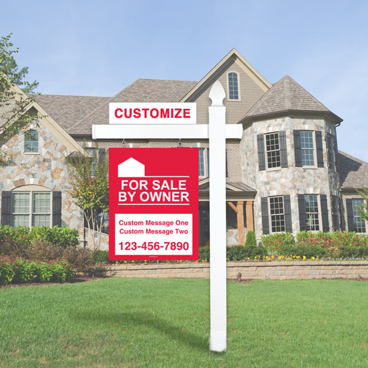 """Red For Sale By Owner FSBO 30T x 24W Hanging Sign Kit - Real Estate Post 6' Tall 36"""" Arm"""