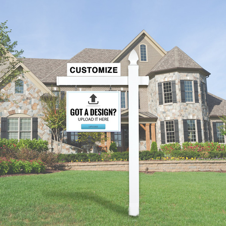 """Upload Your Own Design 18T x 24W Hanging Sign Kit -  Real Estate Post 5' Tall 36"""" Arm"""