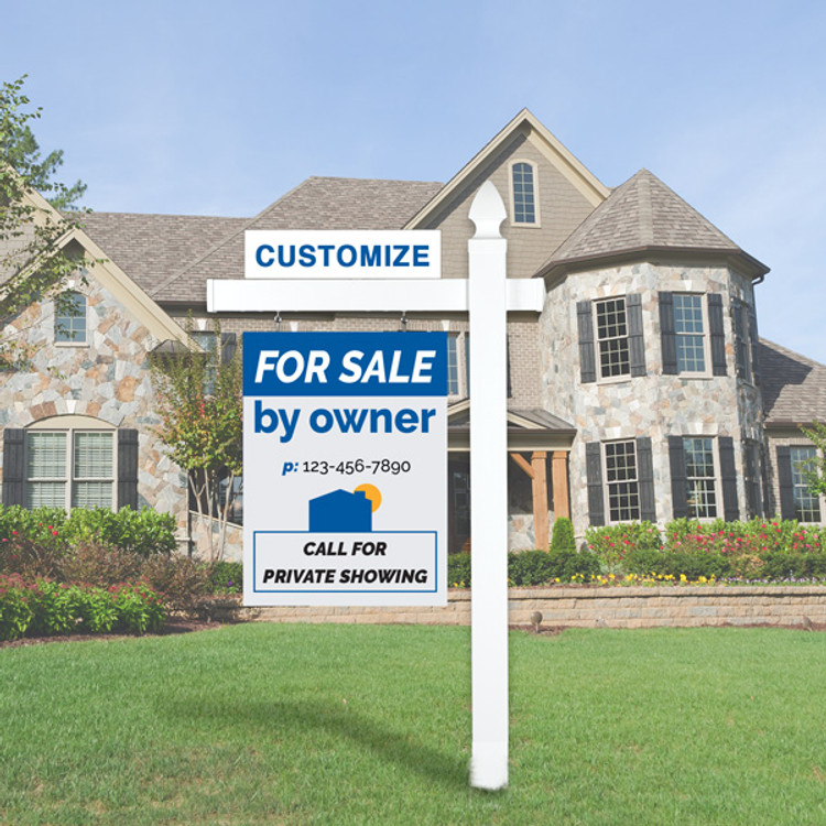 """Blue/Grey For Sale By Owner FSBO 30T x 24 W Hanging Sign Kit - Real Estate Post 6' Tall 36"""" Arm"""