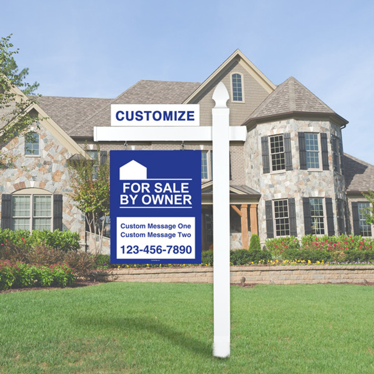 """Blue For Sale By Owner FSBO 30T x 24W Sign Kit - Real Estate Post 6' Tall 36"""" Arm"""