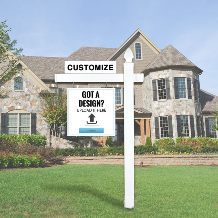 """Upload Your Own Design  24T x 24W Hanging Sign Kit - Real Estate Post 5' Tall 36"""" Arm"""