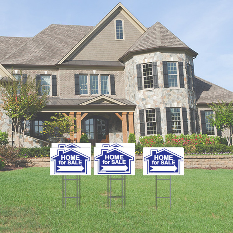 Pack of 5 - Home for Sale - Directional Signs -  Includes Stakes - 12T x 18W - Blue