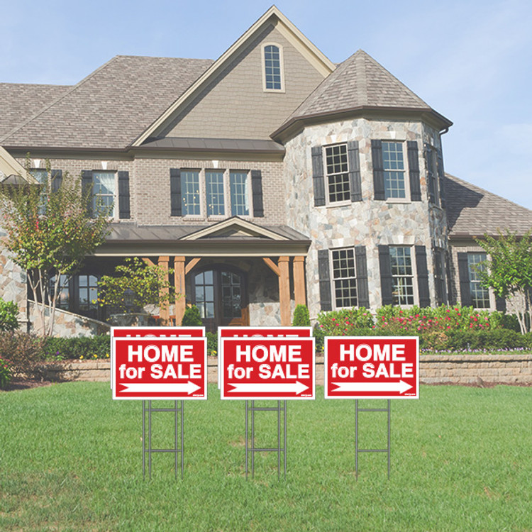 Pack of 5 - Home for Sale - Directional Signs -  Includes Stakes - 12T x 18W - Red