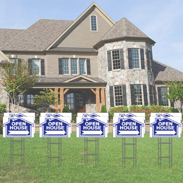 Pack of 10 - Open House - Directional Signs - Includes Stakes - 12T x 18W - Blue