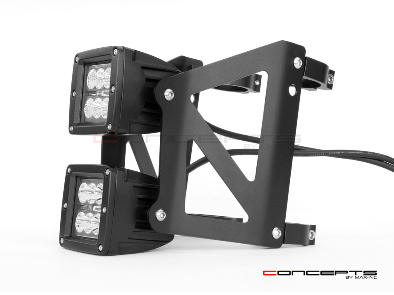 Black Dual Stacked Streetfighter LED Headlight - 32/33mm