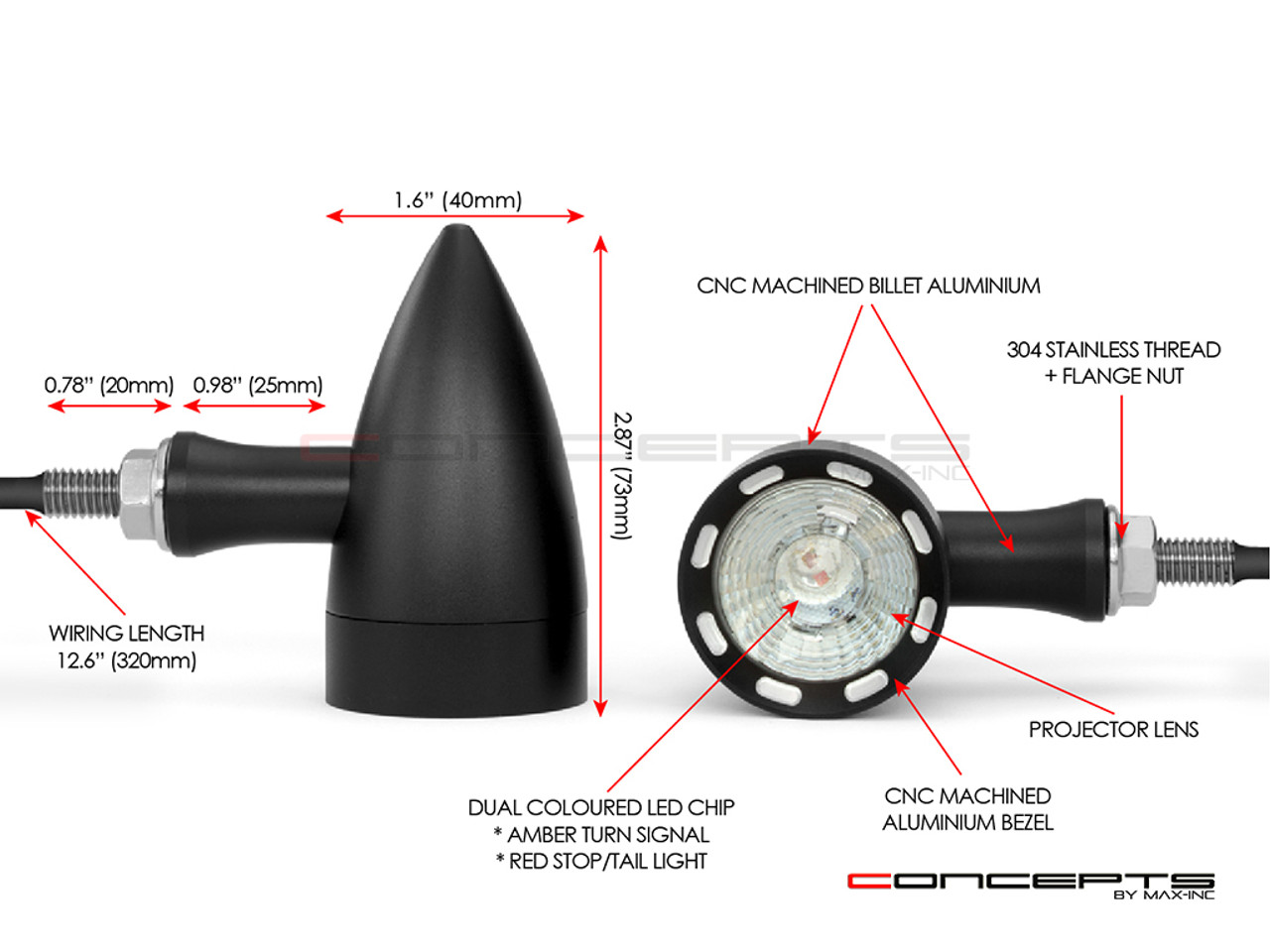 Black CNC Machined Billet Alum Custom Integrated LED Stop / Tail Lights + Turn Signals