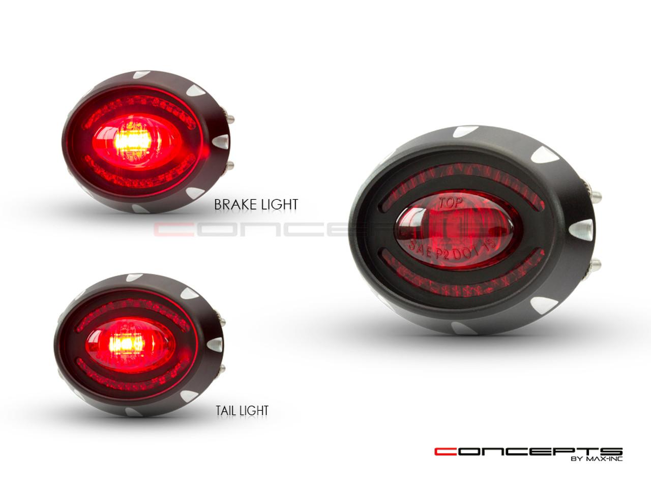 "2"" Micro Oval CNC Machined Billet Aluminium LED Stop / Tail Light"