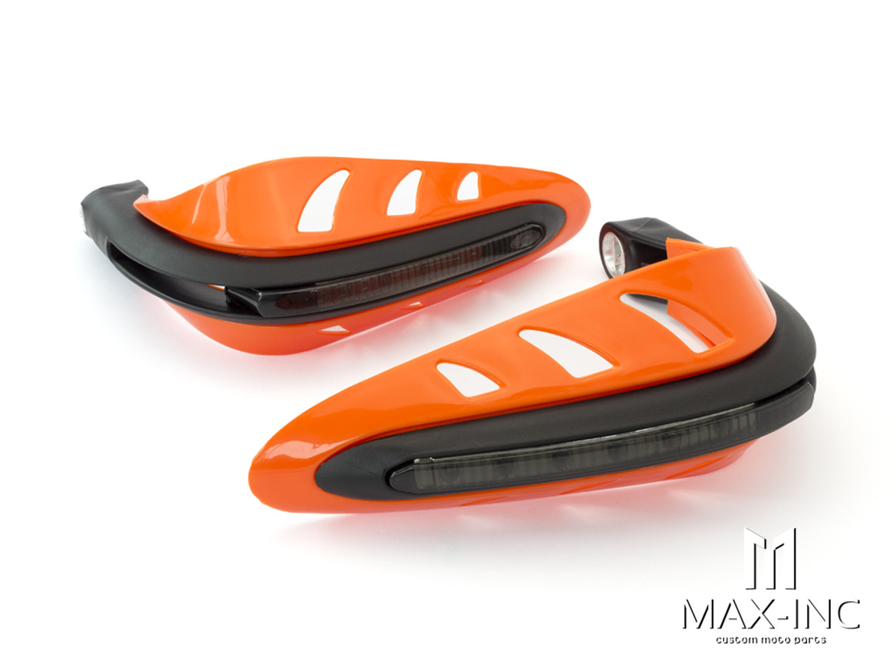 ORANGE Universal Hand Guards with Integrated White LED Daytime Running Lights