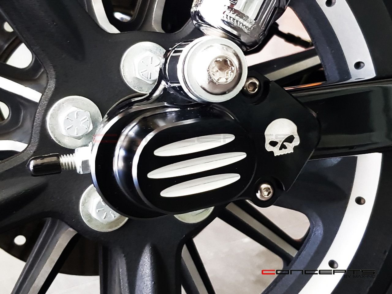 Black CNC Machined Harley Davidson Sportster Rear Axle Covers
