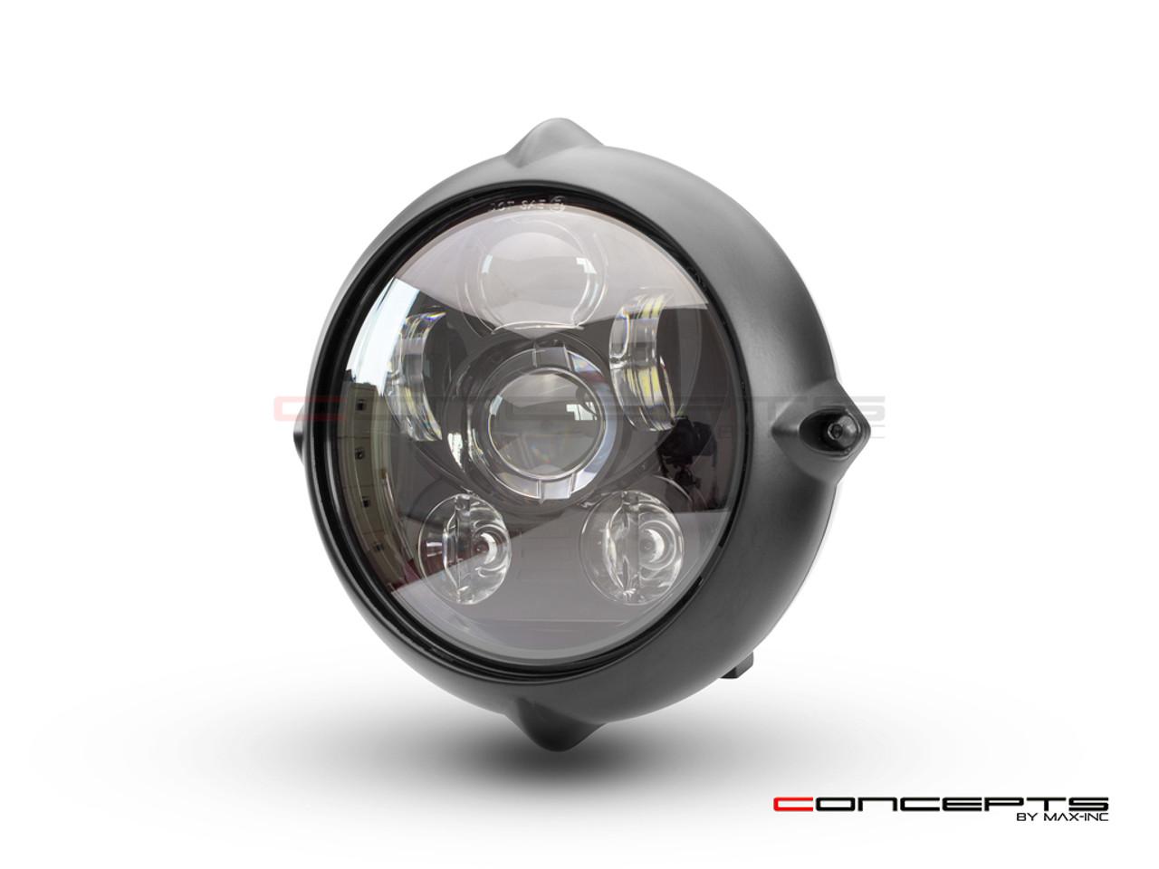 "7"" Black Alloy Vintage Style LED Projector Headlight"