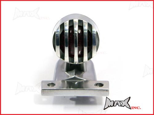 Polished Aluminium Mini Prison Grill LED Stop / Tail Light - Red Lense