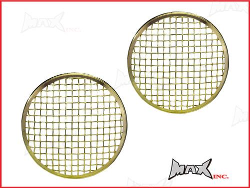 7 INCH Brass Chrome Mesh Grill Metal Headlight Covers - Pair