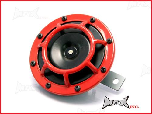 "4.8"" Black + Red Cage 12v Universal Disc Horn"