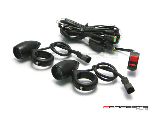 Matte Black Aluminium Bullet Spot / Fog Lights + Complete Wiring Kit + Fork Clamps - 48/49mm
