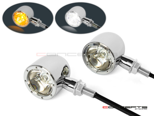 Chrome CNC Machined Billet Alum Classic Integrated LED Turn Signals + Daytime Running Lights