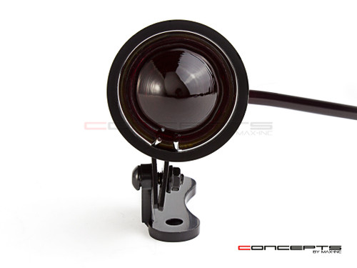Black CNC Machined Aluminium Vintage LED Stop / Tail Light - Red Lens