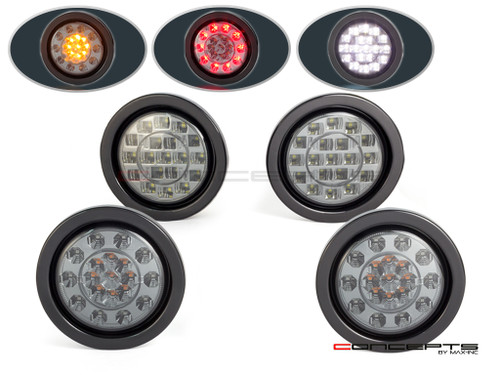 "4"" Universal Flush Mount Integrated LED Stop / Tail Light / Turn Signals + Reverse Lights - Set Of 4"