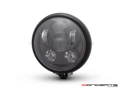 "5.75"" Bates Style LED Six Projector Gloss Black Metal Headlight"