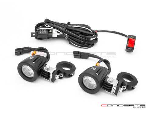 10w LED Spot Lights + Wiring Harness + Bar Clamps - Fits 22 /25 / 28mm Bars