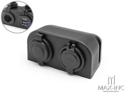 Universal Dash Mount 12v Socket + Twin USB Power Supply
