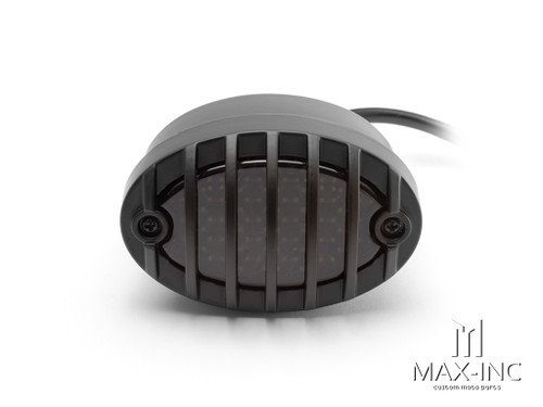 Matte Black Metal Grilled Oval LED Stop / Tail Light - Smoked Lens
