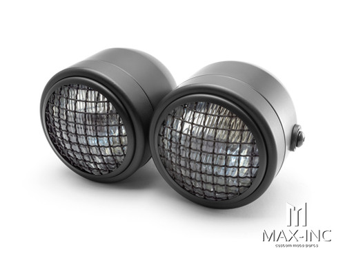 Black Universal Twin Metal Headlight + Mesh Grill - 12v / 35w